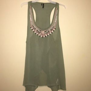 2/$10 Navy Green See through Tank Top w/ Open Back